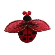 ID #0419A Red Lady Bug Insect Garden Embroidered Iron On Badge Applique Patch