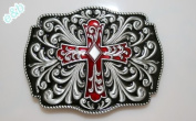 Brand:e & b New Western 3d Cross & Flower Men Belt Buckle Oc-054rd