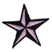 """ Nautic Star "" Iron On Patch Black/Pink"