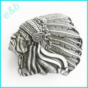 Brand:e & b Indian Chief Head Detailed Pewter Look Belt Buckle Wt-073as