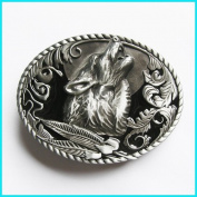 Brand:choi Western Howling Wolf with Leaf Feathers Enamelled Belt Buckle Wt-013bk