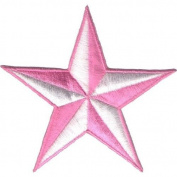 """ Nautic Star "" Iron On Patch Pink/White"