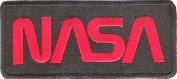""" NASA "" Iron On Patch Black & Red"