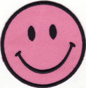 Smiley Pink Iron Sew On Embroidered Patch