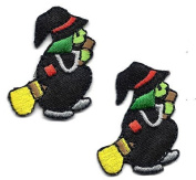 Halloween-Witch on Broomstick(2Pc) - Iron On Embroidered Applique/Holidays