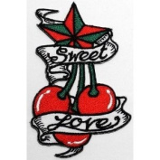 Cherry Star Sweet Love Tattoo DIY Applique Embroidered Sew Iron on Patch
