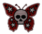 Butterfly Skull Bone Star Biker Motorcycle Wing Punk Emo Rock DIY Applique Embroidered Sew Iron on Patch