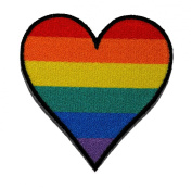 Rainbow Heart Love Hippie Bohemian Boho-chic DIY Applique Embroidered Sew Iron on Patch