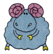 Cute Light Blue Sheep Ram DIY Embroidered Sew Iron on Patch