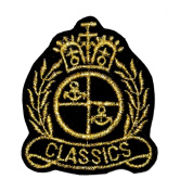 Gold Classics Badge DIY Applique Embroidered Sew Iron on Patch