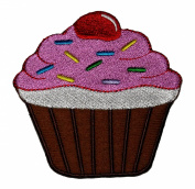 Cute Brown Cupcake Cake Bakery Retro Vintage Design DIY Applique Embroidered Sew Iron on Patch