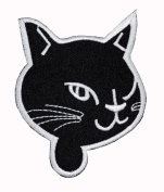 Funny Cute Black Cat Cartoon DIY Applique Embroidered Sew Iron on Patch