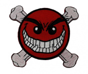 Funny Smiley Smile Happy Red Face Danger Biker DIY Applique Embroidered Sew Iron on Patch