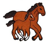 Brown Horse Bronco Mustang Family DIY Applique Embroidered Sew Iron on Patch