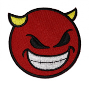 Funny Smiley Smile Devil Red Face Biker DIY Applique Embroidered Sew Iron on Patch