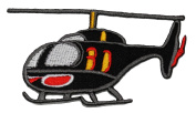 Black Helicopter DIY Applique Embroidered Sew Iron on Patch