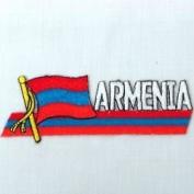 Armenia Sidekick Word Country Flag Iron on Patch Crest Badge .. 3.8cm X 11cm ... New
