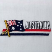 Australia Sidekick Word Country Flag Iron on Patch Crest Badge .. 3.8cm X 11cm ... New