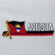 Antigua & Barbuda Sidekick Word Country Flag Iron on Patch Crest Badge .. 3.8cm X 11cm ... New