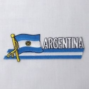 Argentina Sidekick Word Country Flag Iron on Patch Crest Badge .. 3.8cm X 11cm ... New