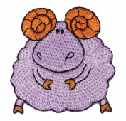 Cute Purple Sheep Ram DIY Embroidered Sew Iron on Patch