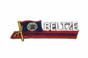 Belize Sidekick Word Country Flag Iron on Patch Crest Badge .. 3.8cm X 11cm ... New