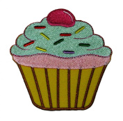 Cupcake Cute Cake Bakery Retro Vintage Design DIY Applique Embroidered Sew Iron on Patch