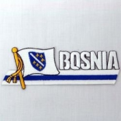 Bosnia Old Sidekick Word Country Flag Iron on Patch Crest Badge .. 3.8cm X 11cm ... New