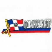 Dominican Republic Sidekick Word Country Flag Iron on Patch Crest Badge .. 3.8cm X 11cm ... New