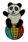 Funny Cute Panda on the Ball DIY Applique Embroidered Sew Iron on Patch