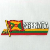 Grenada Sidekick Word Country Flag Iron on Patch Crest Badge .. 3.8cm X 11cm ... New