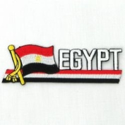 Egypt Sidekick Word Country Flag Iron on Patch Crest Badge .. 3.8cm X 11cm ... New