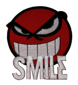 Funny Smiley Smile Happy Red Face Biker DIY Applique Embroidered Sew Iron on Patch