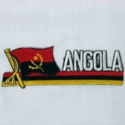 Angola Sidekick Word Country Flag Iron on Patch Crest Badge .. 3.8cm X 11cm ... New