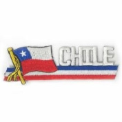 Chile Sidekick Word Country Flag Iron on Patch Crest Badge .. 3.8cm X 11cm ... New