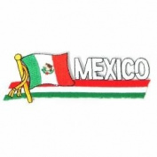 Mexico Sidekick Word Country Flag Iron on Patch Crest Badge ... 3.8cm X 11cm ... New