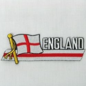 England St Georges Cross Sidekick Word Country Flag Iron on Patch Crest Badge .. 3.8cm X 11cm ... New