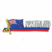 New Zealand Sidekick Word Country Flag Iron on Patch Crest Badge ... 3.8cm X 11cm ... New