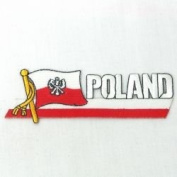 Poland with Eagle Sidekick Word Country Flag Iron on Patch Crest Badge ... 3.8cm X 11cm ... New