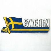 Sweden Sidekick Word Country Flag Iron on Patch Crest Badge ... 3.8cm X 11cm ... New