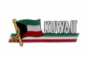 Kuwait Sidekick Word Country Flag Iron on Patch Crest Badge ... 3.8cm X 11cm ... New