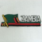 Zambia Sidekick Word Country Flag Iron on Patch Crest Badge ... 3.8cm X 11cm ... New