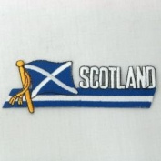 Scotland St Andrews Cross Sidekick Word Country Flag Iron on Patch Crest Badge ... 3.8cm X 11cm ... New
