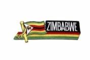 Zimbabwe Sidekick Word Country Flag Iron on Patch Crest Badge ... 3.8cm X 11cm ... New