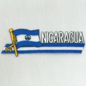 Nicaragua Sidekick Word Country Flag Iron on Patch Crest Badge ... 3.8cm X 11cm ... New