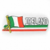 Ireland Irish Sidekick Word Country Flag Iron on Patch Crest Badge .. 3.8cm X 11cm ... New