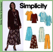 UNCUT & OOP SIMPLICITY 8226 - 2 HOUR MISSES' PLUS TOPS, SKIRT, PANTS & SCARF SEWING PATTERN SIZE