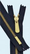 28cm Medium Weight American Flag Zipper YKK #5 Brass ~ MADE IN USA Closed End ~ 560 Navy