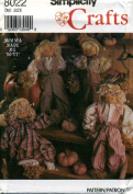 Simplicity Scarecrow Doll Sewing Craft Pattern 8022