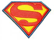 Superman Hero Cartoon Patches Blue 8.5x6.5 Cm Iron on / Sew on Patch